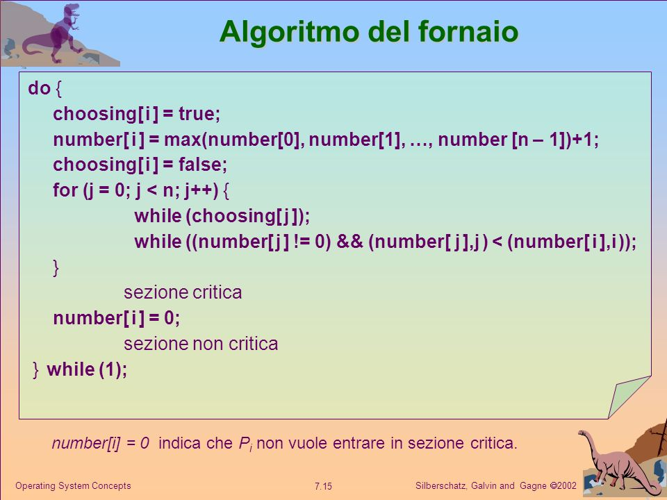Algoritmo del fornaio do { choosing[ i ] = true;
